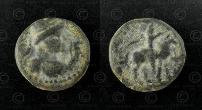Kushan bronze coin C262J. Kushan Empire.