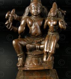 Statuette Shiva et Parvati bronze. Tamil Nadu, Inde du sud.