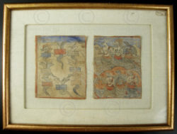 Framed pair of divination cards. Tibet.