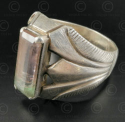Tourmaline and silver ring R282E. Central Asian culture.