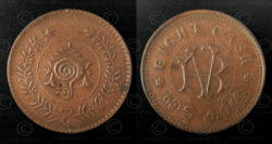 Travancore bronze coin C146A. Kingdom of Travancore, now Southern Kerala State,