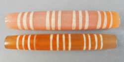 Tubular etched cornelian beads BD237. Burmese city-states.