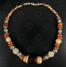 Turkmen silver and amber necklace 627. Designed by François Villaret.
