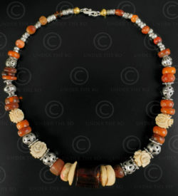 Turkmen silver and amber necklace 627. Designed by François Villaret.