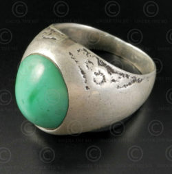 Turquoise and silver ring R280H. Turkmen culture, Central Asia.