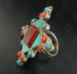 Turquoise coral mosaic silver ring R244C. India.