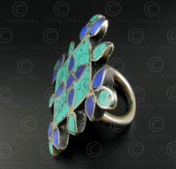 Turquoise lapis mosaic silver ring R244B. India.