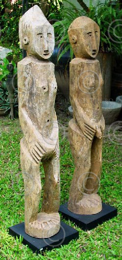 Statue of East Asia Couple of village guardians, Akha, Northern Thailand, late 2