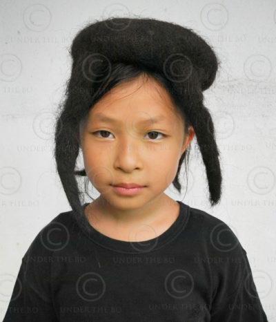 Yak hair cap TIB169. Arunachal Pradesh mountains, North-Eastern India.