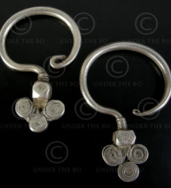 Yao silver earrings E127. China or Laos.