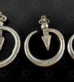 Yao silver earrings E166. Mien Yao minority. Southern China, Laos or Thailand.