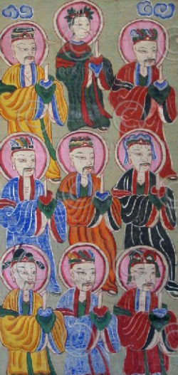 Yao paintings set15. Lantien Yao group. Laos
