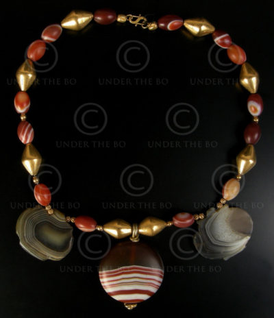 Collier avec agates à bandes, or No.561