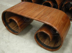 Spiral console or coffee table, console FV10, local wood (alangium salvifolium)