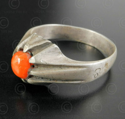 Coral and silver ring R283B. Central Asia and Afghan culture.