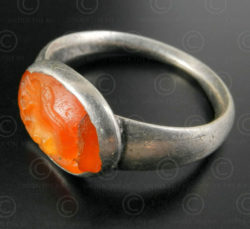 Cornelian seal and silver ring R285. Central Asia culture.