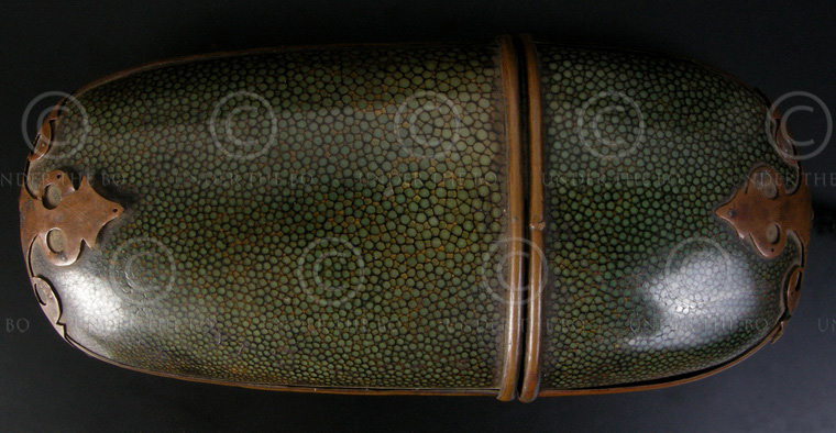 Glasses with case C48A. Wood, stingray leather, copper. China.