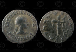 Monnaie indo-grecque C120. Drachme d'argent du roi Menandre. Afghanistan.