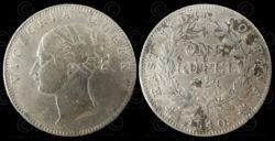 Monnaie victorienne C186. Roupie d'argent. Règne de la Reine Victoria.