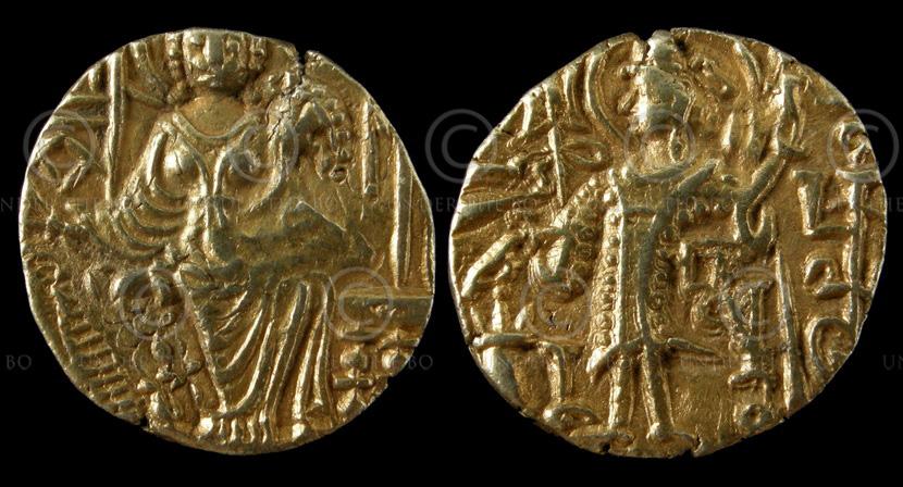 Monnaie or kouchane C280. Kipanadha (fin du 4ème siecle ap J-C). Empire Kouchan.