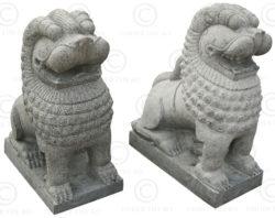 Paire lions granite 09MM7A. Tamil Nadu, Inde du sud.