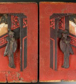 Panneaux Chinois CP23. Bois de camphre laqué et doré. Chine.