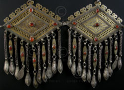 Pair silver pendants P124 with cornalian. Turkmen, Afghanistan.
