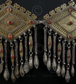 Pair silver pendants P124 with cornalian. Turkmen, Afghanistan.