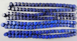 Perles lapis NBD4C. Lapis lazuli afghan, taillé en Inde.