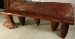 Rustic bench FV52. Country style. Oakwood burl top