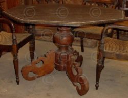 Dining table ID1 Single pc of ironwood from Borneo. Teakwood base from Java. Ind