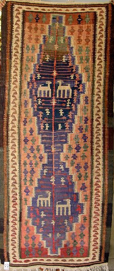 Iran kilim Z143 Cotton and wool kilim, nomadic Senneh tribe of Kurdistan, Iran
