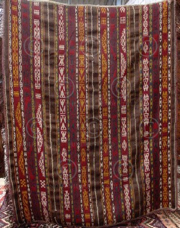 Afghan kilim Z147 Wool and cotton, supplementary weft kilim, nomadic Gajar of Af
