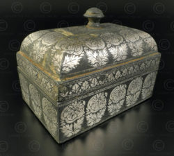 Indian silver inlaid box IN641. Karnataka state, South India.