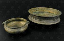 Petits plats en bronze IN651AB. État du Kérala, Inde du sud.