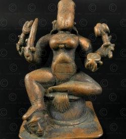 Bronze four-armed Kali 16N18. Karnataka state, Southern India.