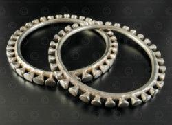 Naga style silver bracelets B118-9. Nagaland State, North-Eastern India.