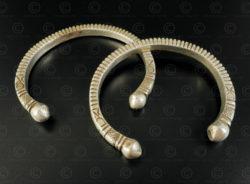 Pair Afghan silver bracelets B222. Eastern Afghanistan.
