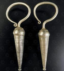 Pair of Akha silver earrings E218. Akha minority, Shan plateau, Eastern Burma.
