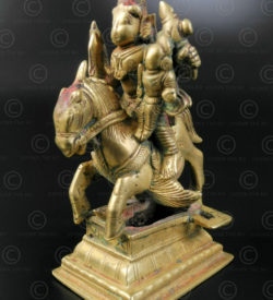 Bronze Khandoba on horse 16N52. Karnataka state, Southern India.