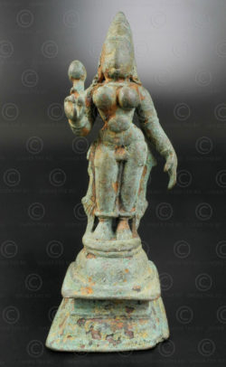 Bronze Lakshmi with lotus 16N1. Tamil Nadu state, Southern India.