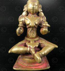 Bronze seated Gauri 16N31. North Karnataka /South Maharashtra State, southern India.