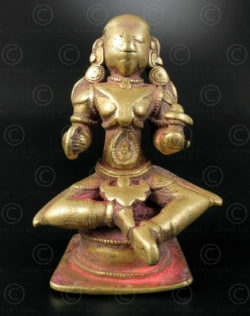 Bronze seated Gauri 16N31. North Karnataka /South Maharashtra State, southern India.