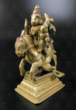 Bronze Khandoba et monture 16N52. Etat du Karnataka, Inde du sud.