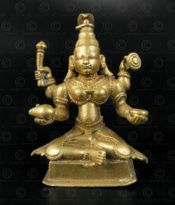 Statuette Mahalakshmi bronze 16N16. Région de Kholapur, état du Maharashtra. Inde du sud.
