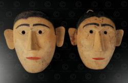 Bidayuh couple masks BO258. Bidayuh Dayak culture, Sarawak, Borneo island.