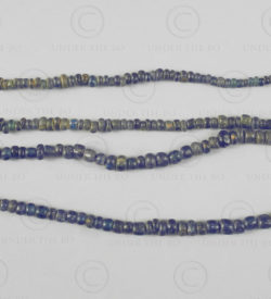 Borneo blue glass trade beads BD256. Western Kalimantan, Indonesia.
