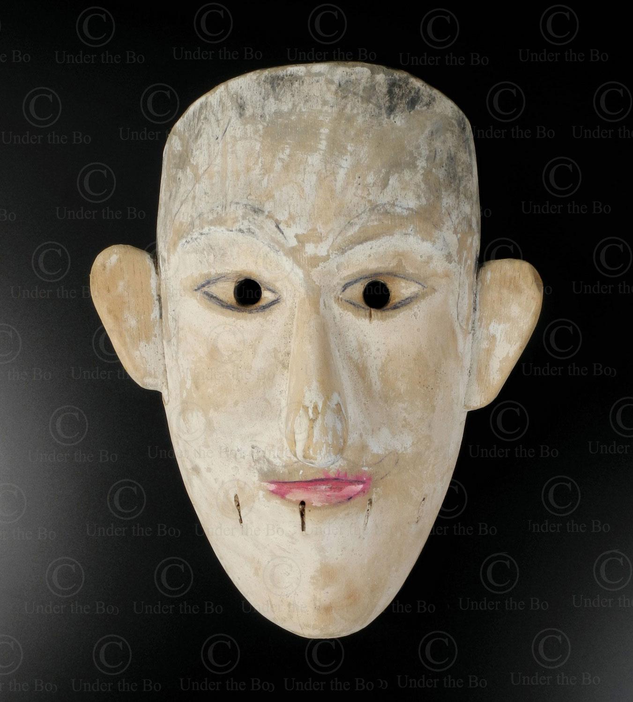 Masque blanc bidayuh BO257C. Culture dayak bidayuh, Sarawak, île de Bornéo.
