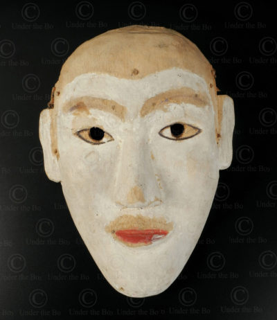 Masque blanc bidayuh BO257E. Culture dayak bidayuh, Sarawak, île de Bornéo.