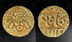 Rajput gold coin C329. Gahadvala or Gaharwar dynasty, India.